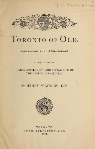 Toronto of Old title